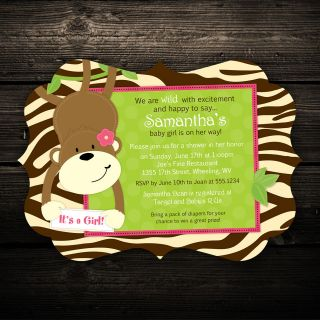 Monkey Ornate Cut Birthday or Baby Shower Invitations   Any Color