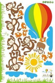 90*60cm Dancing Monkey Hot Air Balloon Wall Sticker Nursery Kids Room