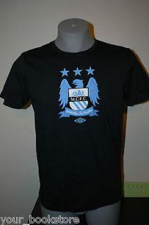 New Manchester City F.C. MCFC Umbro Soccer Football Jersey Black Tee T