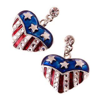 American Flag Crystal Rhinestone Heart Charm Dangle Earrings Silver