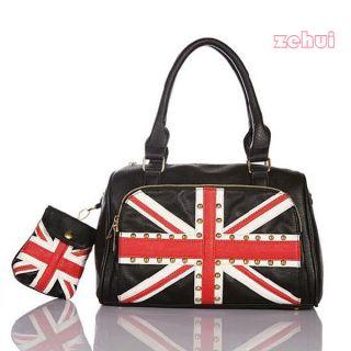 Women Punk Rivet Union Jack British Flag Casual Shoulder Bag/Tote Bag