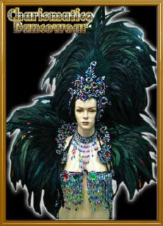 CHARISMATICO BLACK Drag SAMBA RIO CARNIVAL Feather Headdress Costume