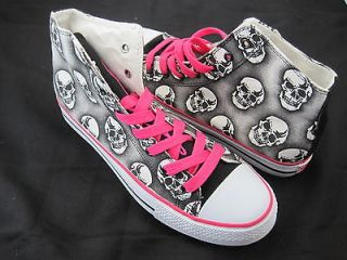 British Knights Shoes Falcon Skulls Canvas Black/White/Pi​nk Sneaker