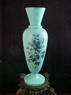 Antique Victorian French Blue Opaline Hand Painted Enamel Art Glass