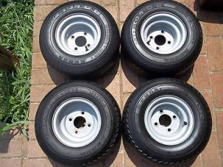 Grey 4 Golf Cart Wheels and Tire Set ClubCar Yamaha EZGO Hole N 1