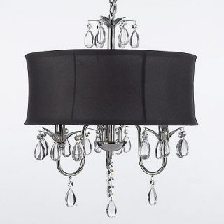 MODERN BLACK DRUM SHADE & CRYSTAL CEILING CHANDELIER PENDANT LIGHTNING