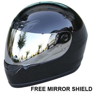 FREE Mirror Shield Gloss Black Full Face Motorcycle Helmet DOT Size