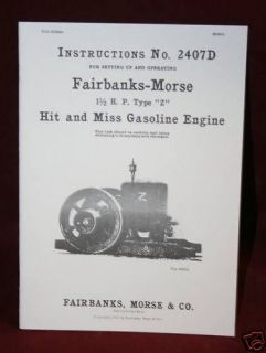 Fairbanks Morse 1 1/2 HP Z Hit & Miss Gas Engine Manual