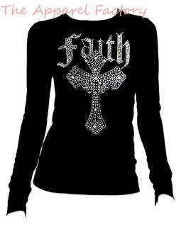 New Rhinestone FAITH CROSS Black Round Crew Neck Long Sleeve T Shirt