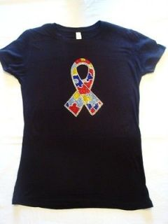 Autism Puzzle Ribbon Rhinestone Bling  Choice of Black, Red, Blue, or