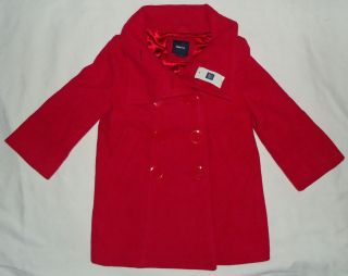 Gap Kids NWT Girls Pink Red Double Breasted Wool Roman Pea Coat XS 4 5
