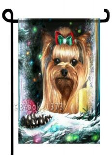 YORKIE painting Christmas GARDEN FLAG Dog Yorkshire Terrier Holiday