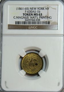 Magnus NATL Printing 630AS 1b New York NGC MS 63 Civil War Store