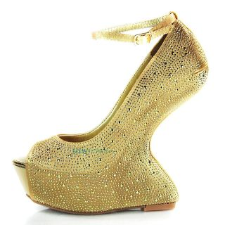 Faye Gold Metallic Lady Gaga Platform Wedge High Heel Metal Stud
