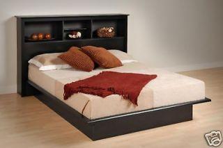 Black Queen Size Platform Bed & Headboard Set ws 5 Years Warranty