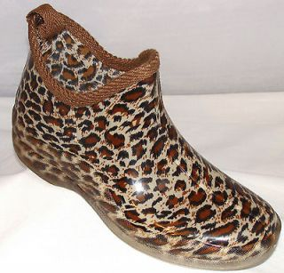Henry Ferrera RS Tiger Leopard Brown Print Ankle Rubber Rainboots 6 7