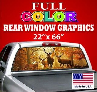 Hunt DEER Sign Rear Window Graphic Decal Tint   Dodge Ford Chevy