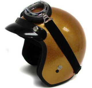 Metal flake Motorcycle Helmet Vintage Gold Open Face Racer +GOGGLES~S