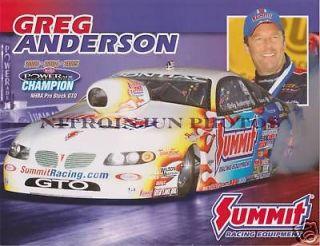 Greg Anderson 2007 ChampionshipTrack Handout Mint
