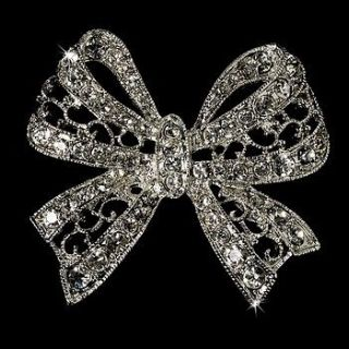 Vintage Look Crystal Bow Bridal Brooch Comb Cake Brooch