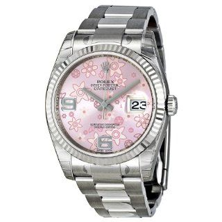 Rolex Datejust Automatic Pink Floral 18 kt White Gold Ladies Watch