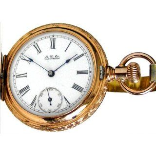 W6A Waltham 14K Solid Fancy Rose Gold Antique Ladies Pocket Watch 1