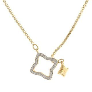 David Yurman 18k Yellow Gold Pave Diamond Quatrefoil Necklace David