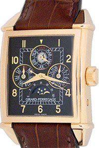 Girard Perregaux Vintage 1945 Mens Brown Strap Black Dial 18K Rose