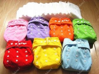 Lot 7 Pcs One Size Adjustable Baby Washable Cloth Diapers Cloth Nappy