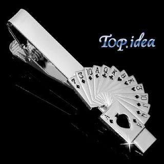 POKER CARD GAME SPADE ROYAL STRAIGHT FLUSH BLACK SILVER TONE TIE CLIP