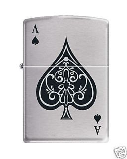 Zippo Vintage Ace of Spades Lighter, Brushed Chrome, Low Shipping