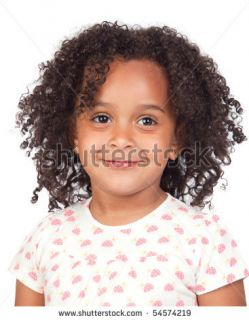 stock photo  Adorable african little girl with beautiful hairstyle