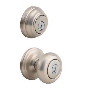 Kwikset Juno Satin Nickel Entry Knob and Single Cylinder Deadbolt