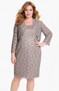 Alex Evenings Sequined Lace Sleeveless Dress & Bolero (Plus