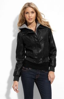 Miss Sixty Studded Faux Leather Bomber Jacket