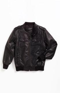 Black Rivet Faux Leather Motorcycle Jacket (Big Boys)