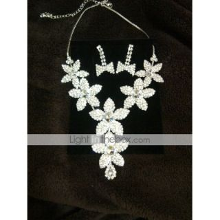 Gorgeous Alloy Rhinestone Wedding Bridal Necklace and Earrings Jewelry