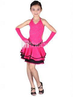 Dancewear Polyester Performance Latin Dance Dress For Kids   USD $ 39