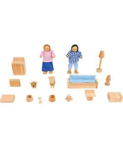 Buy Chad Valley Wooden Dolls House Furniture and Accessory Set at