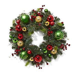 Winter Lane Battery Operated 24 LED Wreath with Ornaments