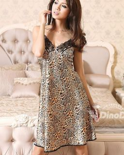 Wholesale Sexy Women Lace Leopard Print Sleeveless Nightdress