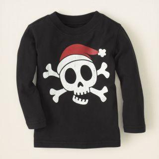 baby boy   skull Santa hat graphic tee  Childrens Clothing  Kids