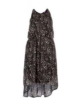 Brown Pattern (Brown) Inspire Brown Leopard Print Dip Hem Dress