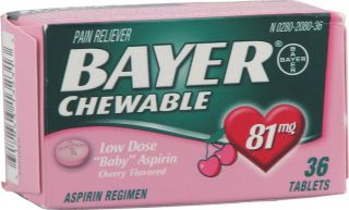 Bayer Chewable Low Dose Baby Aspirin Cherry    81 mg   36 Tablets