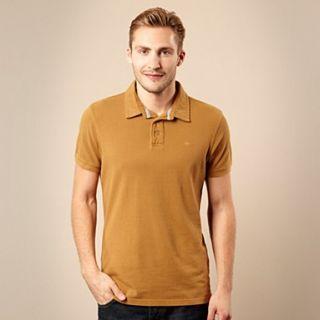 Designer tan pique cotton polo shirt