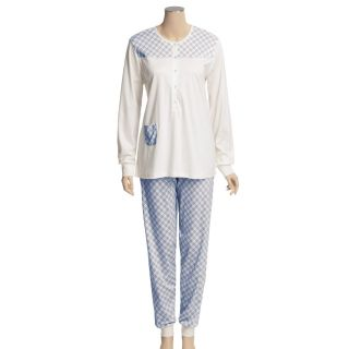 Calida Happy Day Cuffed Pajamas   Swiss Cotton, Long Sleeve (For Women