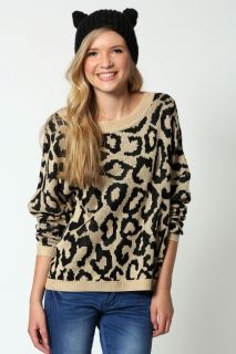 Clothing  Knitwear  Rose Leopard Print Knitted Long