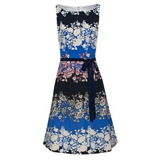 Blue Multi Floral Stripe Prom Dress   Dresses   Occasion & evening