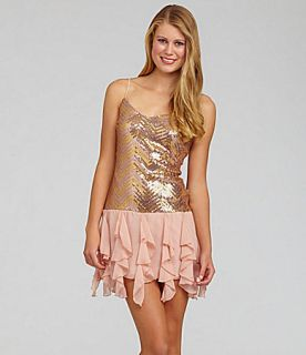 Extraordinary Sequin Drop Waist Dress  Dillards