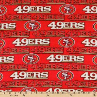 NFL Fleece San Francisco 49ERS Red   Discount Designer Fabric